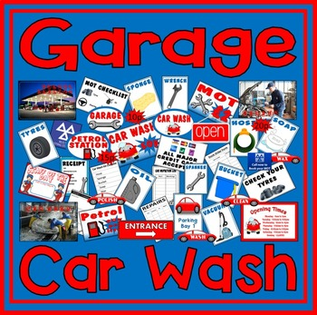 GARAGE CAR WASH ROLE PLAY TEACHING RESOURCES EYFS KS1-2