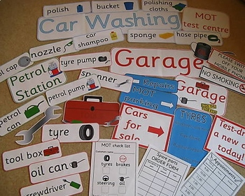 GARAGE role play pack, dramatic play- CAR WASH + PETROL STATION
