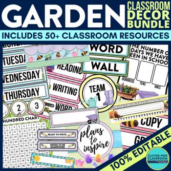 GARDEN THEME Classroom Decor - EDITABLE Clutter-Free Class