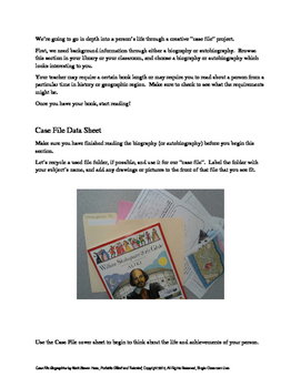 GATE Independent Project - Case File Biographies - Analysis, Creative, Artistic