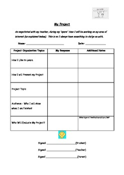 GATE Individual Project Set Up Template - Differentiation of the Gifted Student
