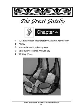 "GREAT GATSBY – Chapter 4:  ""Even Gatsby Could Happen Chapter"" ELA Lesson Plan"