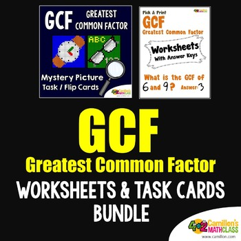 Greatest Common Factor Activities Puzzle, GCF Sheets and Task Cards Bundle