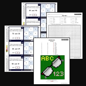 Greatest Common Factor Activity, GCF Puzzle Mystery Pictures & Worksheets Bundle
