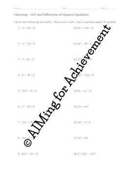 GCF & Difference of Squares Equations Practice Worksheet