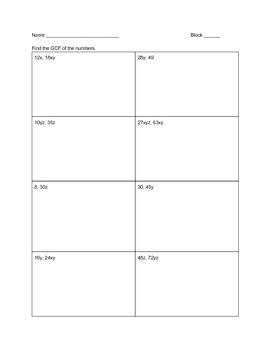 GCF/Factor Out HW/Classwork