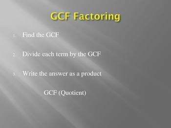 GCF Factoring
