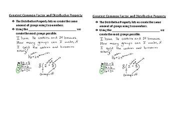 GCF, GCF with Distributive Property, LCM, Prime Factorization Interactive N.B.