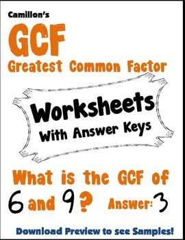 GCF Worksheets with Answer Keys