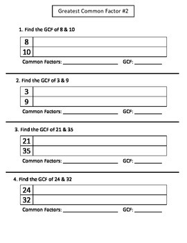 GCF: Greatest Common Factor 5 Worksheet Packet
