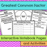GCF Greatest Common Factor Interactive Notebook