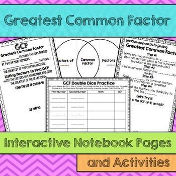 GCF Greatest Common Factor Interactive Notebook