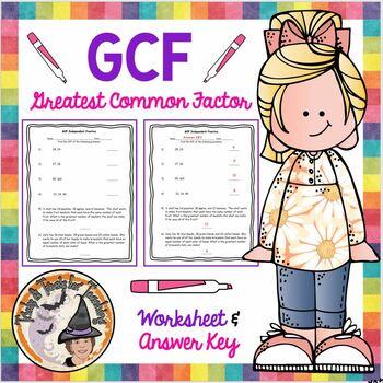 GCF Finding the Greatest Common Factor Practice Worksheet Homework