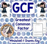 GCF Finding the Greatest Common Factor Practice Worksheet Homework