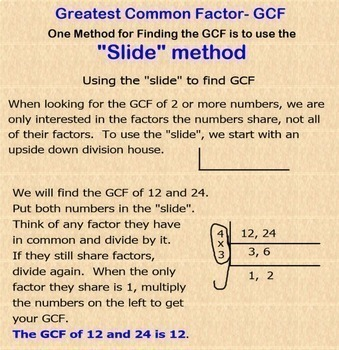 GCF Greatest Common Factor Smartboard Lesson with Applications