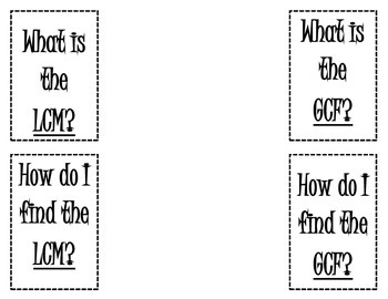 GCF (Greatest Common Factor) and LCM (Least Common Multiple) Foldable/Flippable