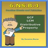 GCF, LCM, Distributive Property: 6.NS.B.4