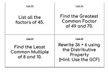 GCF, LCM, Distributive Property & Factoring Task Cards