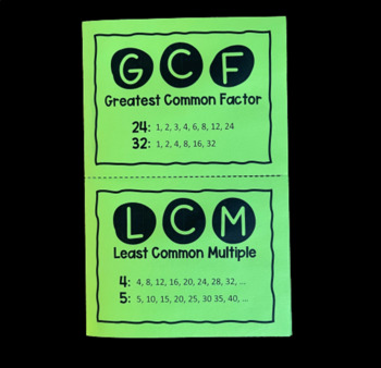 GCF & LCM (Foldable)