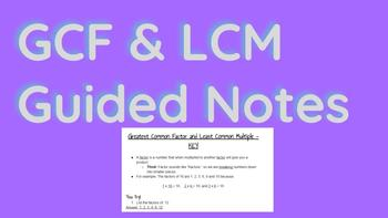 GCF & LCM Guided Notes