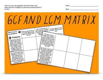 GCF/LCM Matrix 6.NS.4