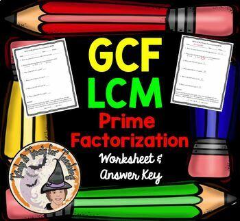 GCF LCM Prime Factorization QUIZ Practice Worksheet Homework