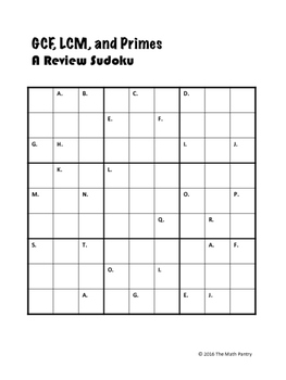 GCF, LCM, Primes Review Sudoku