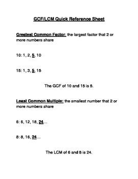GCF LCM Reference Sheet