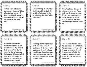 GCF & LCM Task Cards