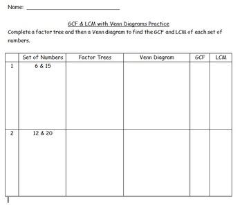 GCF & LCM Venn Diagram Method Practice Worksheet