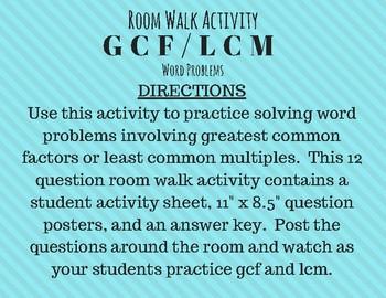 GCF LCM Word Problems Room Walk Activity