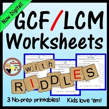 GCF / LCM Worksheets w/ Riddles
