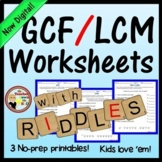 GCF / LCM Worksheets w/ Riddles Distance Learning