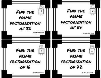 GCF/LCM and Prime Factorization Task Cards (6.NS.4)