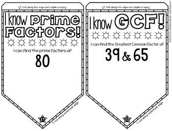 GCF, LCM and Prime Factors Math Pennant Activity