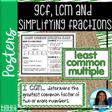 GCF, LCM and Simplifying Fractions Posters