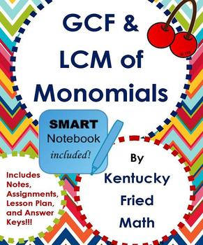 GCF & LCM of Monomials SMART Notebook & Printables Middle School Math