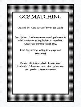 GCF Matching