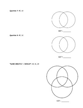 GCF Venn Diagram Quiz Review and Quiz