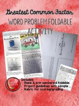 GCF Word Problem Foldable