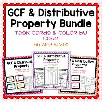 GCF and Distributive Property Task Cards BUNDLE