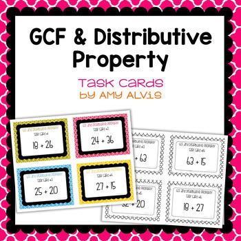 GCF and Distributive Property Task Cards
