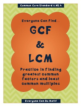 GCF and LCM: Homework or Worksheets