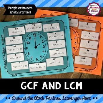 GCF and LCM Around the Clock Partner Scavenger Hunt Activity
