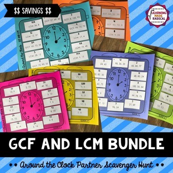GCF and LCM Around the Clock Partner Scavenger Hunt Bundle