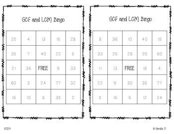 GCF and LCM Bingo- 6.NS.4