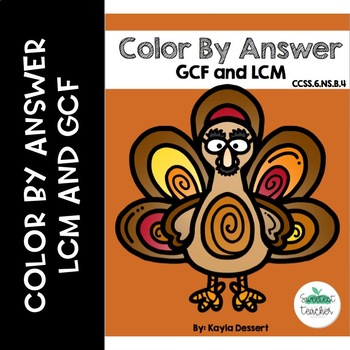 GCF and LCM Color by Answer Turkey