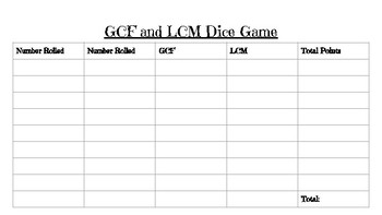 GCF and LCM Dice Game