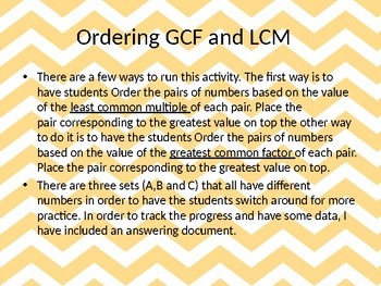 GCF and LCM Drag and Drop, Hands On Activity