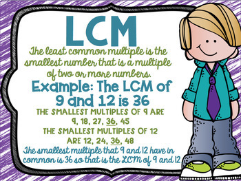 GCF and LCM  FREEBIE anchor charts in color and Black & White for easy printing